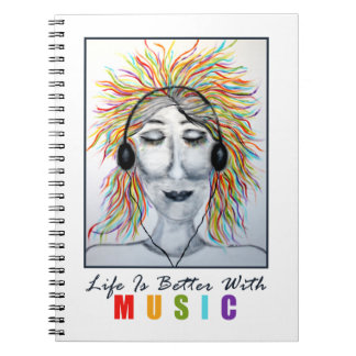 Life Is Better With Music Art Spiral Note Books