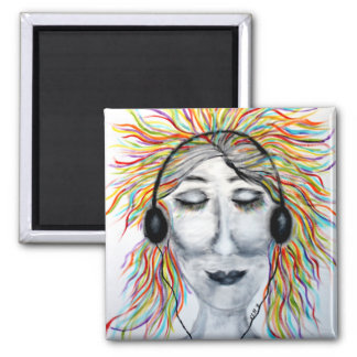 Life Is Better With Music Art Square Magnets