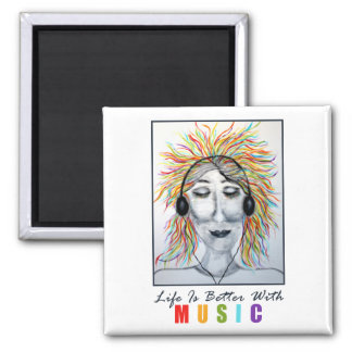 Life Is Better With Music Art w/Title Magnets