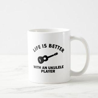 Life is better with ukulele players classic white coffee mug