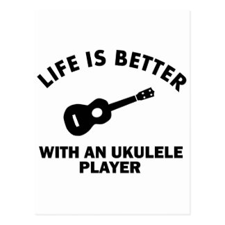 Life is better with ukulele players postcard