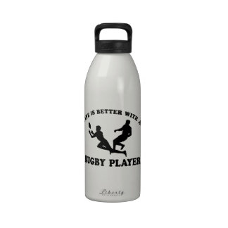 Life is better witha Rugby Player Reusable Water Bottles
