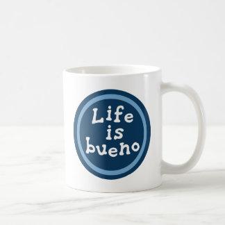 Life is bueno classic white coffee mug