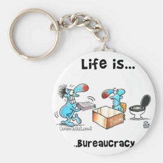 Life is bureaucracy basic round button keychain