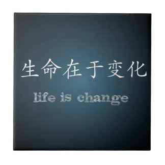 Life is Change, Midnight Blue, Chinese and English Ceramic Tiles
