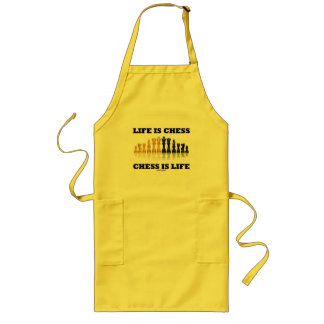 Life Is Chess Chess Is Life (Reflective Chess Set) Long Apron