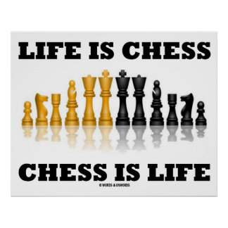 Life Is Chess Chess Is Life (Reflective Chess Set) Poster