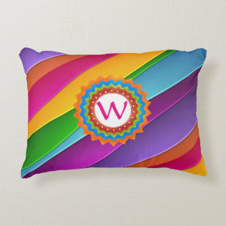 Life is Colorful Monogram Customizable Decorative Pillow