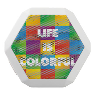 Life is Colorful White Bluetooth Speaker