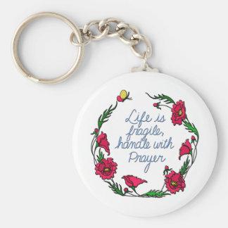 Life is Fragile Handle with Prayer Poppy Wreath Basic Round Button Keychain