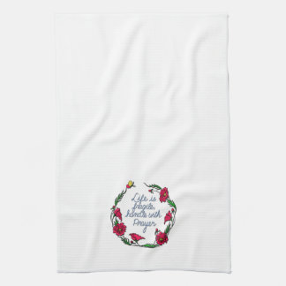 Life is Fragile Handle with Prayer Poppy Wreath Kitchen Towel