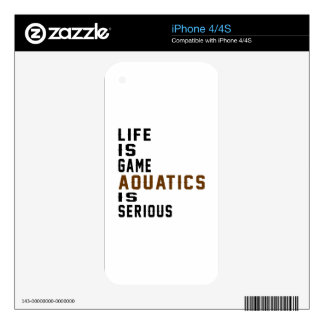 Life is game Aquatics is serious iPhone 4 Skin