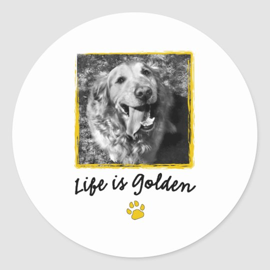 Life Is Golden (Retriever) Classic Round Sticker