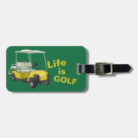 Life is Golf Cart Personalized Bag Tag