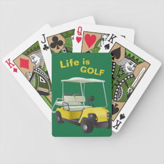 Life is Golf Green Yellow Cart Playing Cards