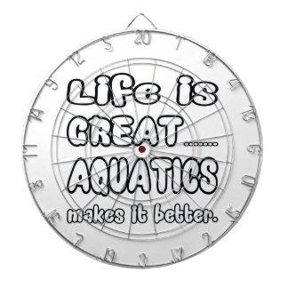 Life Is Great Aquatics Makes It Better. Dartboard With Darts