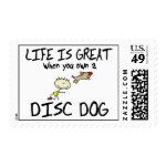 Life is Great Disc Dog Postage Stamp