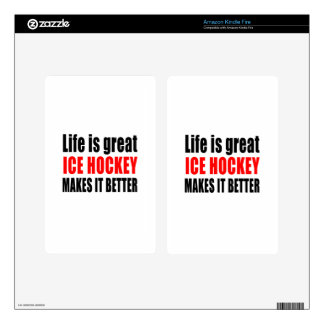 LIFE IS GREAT ICE HOCKEY MAKES IT BETTER DECALS FOR KINDLE FIRE