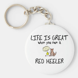 Life is Great Red Heeler Basic Round Button Keychain