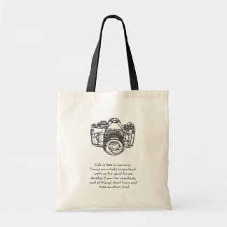 Life is like a camera quote, Black and White Tote Bag
