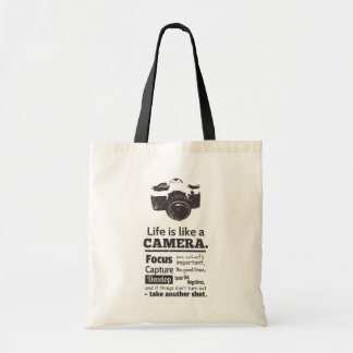 Life is like a camera quote, Black Grunge Budget Tote Bag