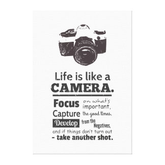 Life is like a camera quote, Black Grunge Canvas Print