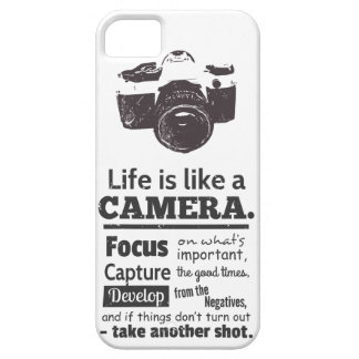 Life is like a camera quote, Black Grunge iPhone SE/5/5s Case