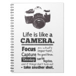 Life is like a camera quote, Black Grunge Notebooks