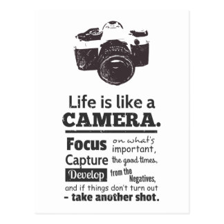 Life is like a camera quote Black Grunge Post Cards