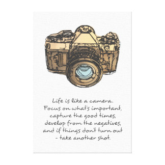 Life is like a camera quote stretched canvas prints