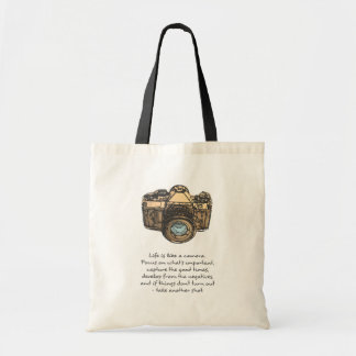 Life is like a camera quote, Hipster Tote Bag
