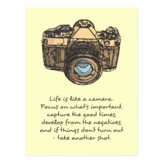 Life is like a camera quote, indie postcards