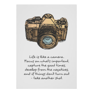 Life is like a camera quote poster