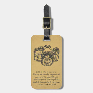 Life is like a camera quote, vintage bag tag