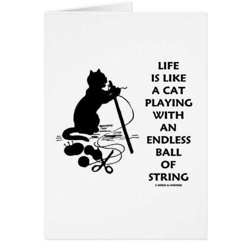 Life Is Like A Cat Playing Endless Ball String Greeting Card