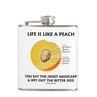 Life Is Like A Peach Eat Sweet Mesocarp Food Humor Hip Flask