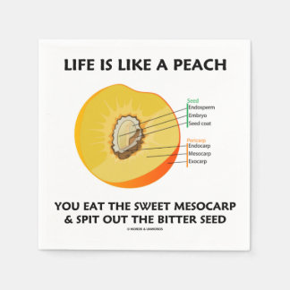 Life Is Like A Peach Eat Sweet Mesocarp Food Humor Napkin