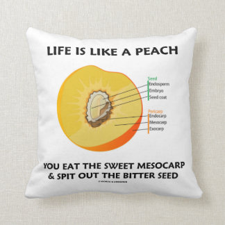 Life Is Like A Peach Eat Sweet Mesocarp Food Humor Throw Pillow