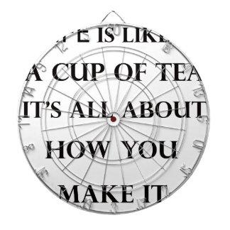 life is like cup of tea dartboard with darts