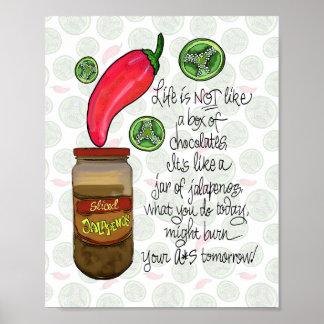Life is Like Jar of Jalapenos Kitchen Bar Poster