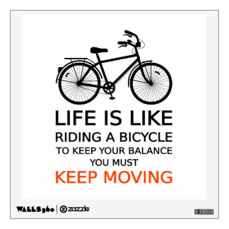 life is like riding a bicycle, text design wall sticker