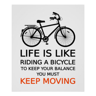 life is like riding a bicycle, text design, word a print