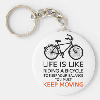 life is like riding a bicycle, word art, text basic round button keychain