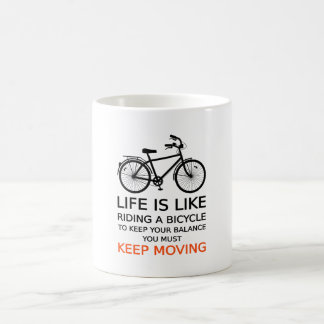 life is like riding a bicycle, word art, text classic white coffee mug