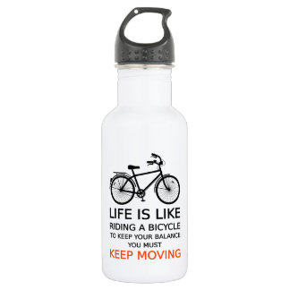 life is like riding a bicycle, word art, text water bottle
