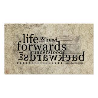 Life is Lived Forwards Understood Backwards Business Card