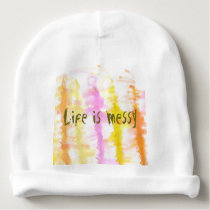 Life is messy Abstract Dripping Paint Stripes Baby Beanie