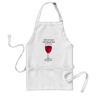 LIFE IS MORE WITH PINOT NOIR...wine print by jill Adult Apron
