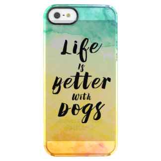 Life Is Much Better With Dogs Black Text Design Clear iPhone SE/5/5s Case