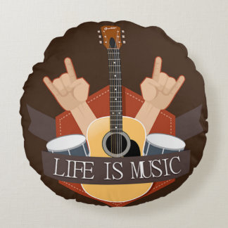Life Is Music Round Pillow